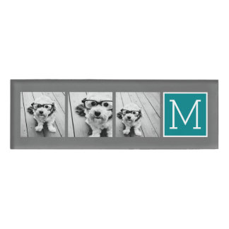 Gray and Teal Photo Collage Monogram Name Tag