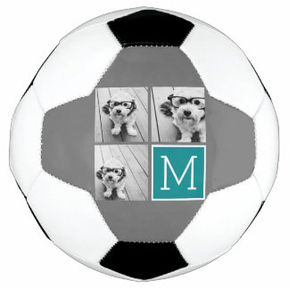 Gray and Teal Photo Collage Monogram Soccer Ball