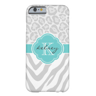 Gray and Turquoise Animal Custom Monogram Barely There iPhone 6 Case