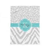 Gray and Turquoise Animal Print Custom Monogram Fleece Blanket