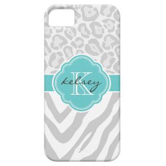Gray and Turquoise Animal Print Custom Monogram iPhone 5 Cases