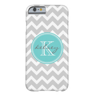 Gray and Turquoise Chevron Custom Monogram Barely There iPhone 6 Case