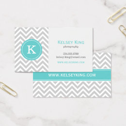 Chevron business cards templates zazzle gray and turquoise chevron custom monogram business card colourmoves Gallery