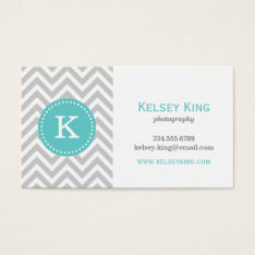 Gray And Turquoise Chevron Custom Monogram Business Card at Zazzle