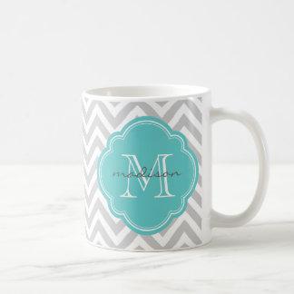 Gray and Turquoise Chevron Custom Monogram Classic White Coffee Mug