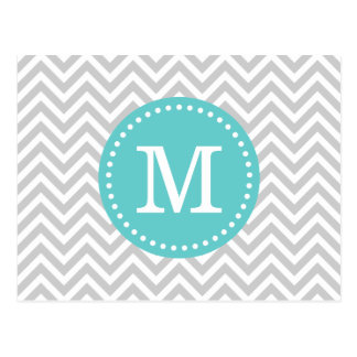 Gray and Turquoise Chevron Monogram Post Card