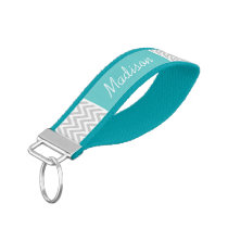 Gray and Turquoise Chevron Monogram Wrist Keychain