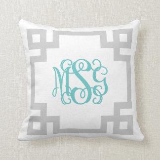 Gray and Turquoise Greek Key Script Monogram MSG Throw Pillow
