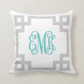 Gray and Turquoise Greek Key Script Monogram Throw Pillow