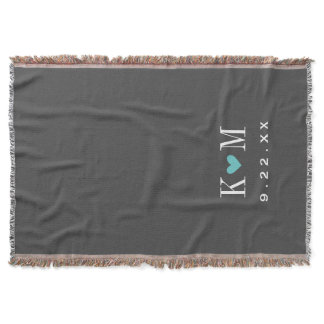 Gray and Turquoise Modern Wedding Monogram Throw