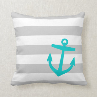 Gray and Turquoise Nautical Stripes and Anchor Throw Pillow