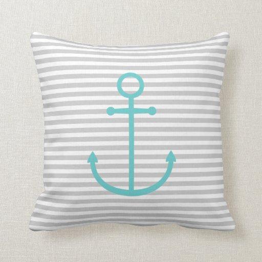 Cute Aqua Throw Pillows : Gray and Turquoise Nautical Stripes & Cute Anchor Throw Pillow Zazzle