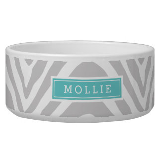 Gray and Turquoise Zebra Print Monogram Bowl