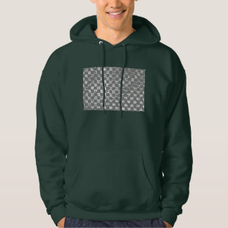 Gray And White Abstract Checkerboard Pattern Hoodie