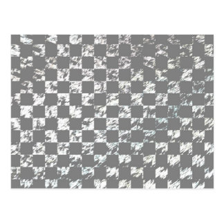 Gray And White Abstract Checkerboard Pattern Postcard
