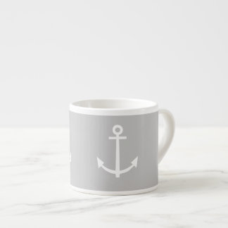 Gray and White Anchors Pattern 1 Espresso Cup