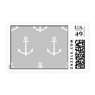 Gray and White Anchors Pattern 1 Postage Stamp