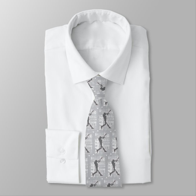 Gray and White Baseball Player Design Necktie