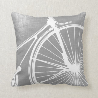 Gray and White Bicycle Pillow