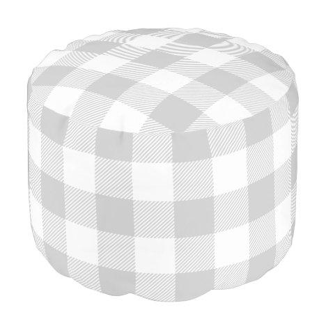 Gray and White Buffalo Check | Editable Colors Pouf