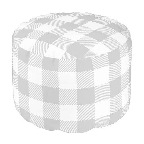 Gray and White Buffalo Check   Editable Colors Pouf