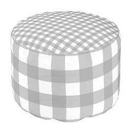 Gray and White Buffalo Check Pouf