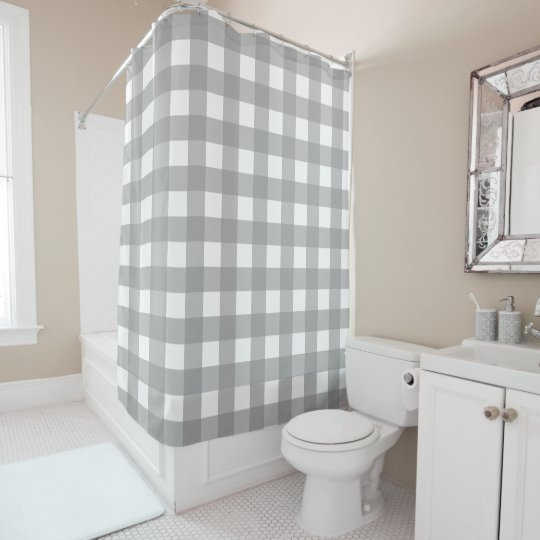 Gray And White Buffalo Check Shower Curtain