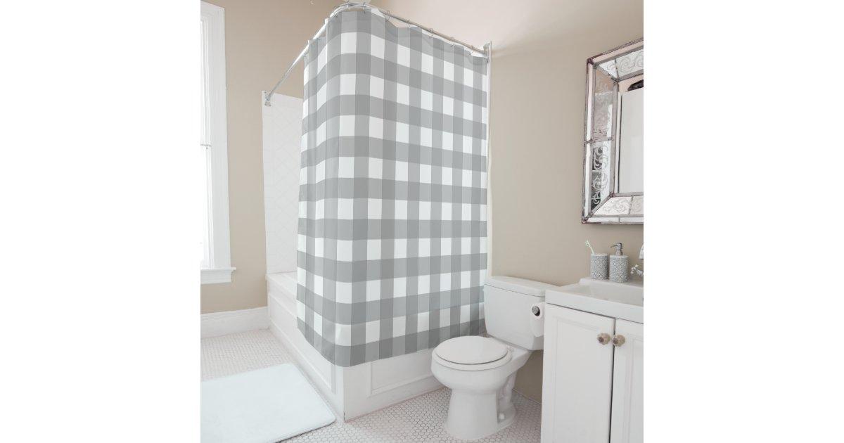 Gray And White Buffalo Check Shower Curtain Zazzle Com