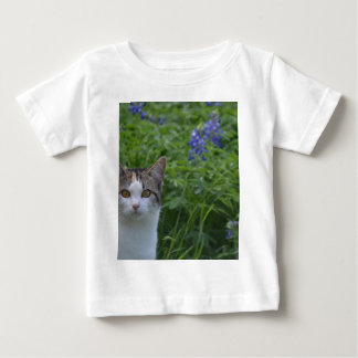 Gray and white cat in field of blue bonnets baby T-Shirt