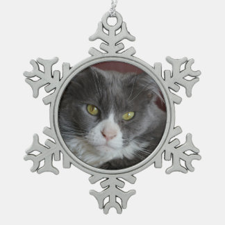 GRAY AND WHITE CAT KATIE ORNAMENTS