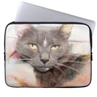 GRAY AND WHITE CAT LAPTOP SLEEVE