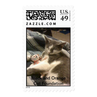 Gray and white cat w/her baby postage stamps
