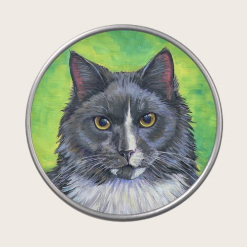 Gray and White Cat with Green Background Candy Tin