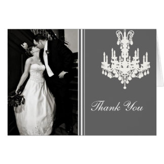Gray and White Chandelier Photo Thank You Card