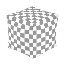 Gray and White Checked Ottoman