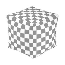 Gray and White Checked Pouf
