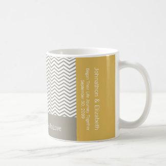 Gray and White Chevron Chic Commemorative Wedding Coffee Mug