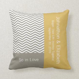 Gray and White Chevron Chic Commemorative Wedding Throw Pillow