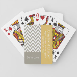 Gray and White Chevron Chic Commemorative Wedding Playing Cards