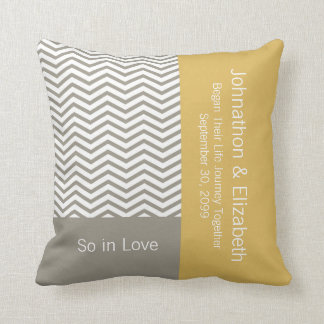 Gray and White Chevron Chic Commemorative Wedding Throw Pillow