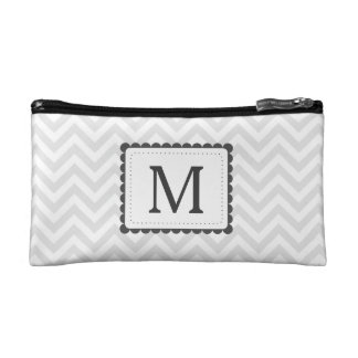 Gray And White Chevron Custom Monogram Cosmetic Bags