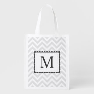 Gray And White Chevron Custom Monogram Reusable Grocery Bags