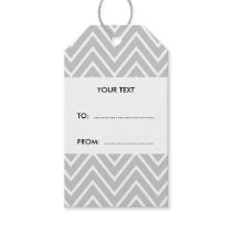 Gray and White Chevron Pattern 2 Gift Tags