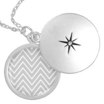Gray and White Chevron Pattern 2 Locket Necklace
