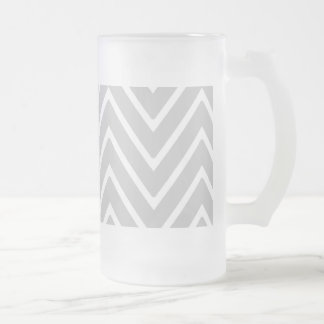 Gray and White Chevron Pattern 2 Frosted Beer Mug
