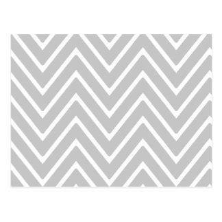Gray and White Chevron Pattern 2 Postcard