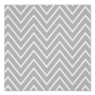 Gray and White Chevron Pattern 2 Posters