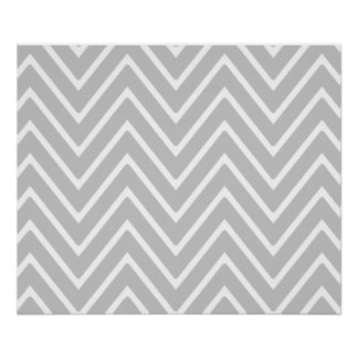 Gray and White Chevron Pattern 2 Poster