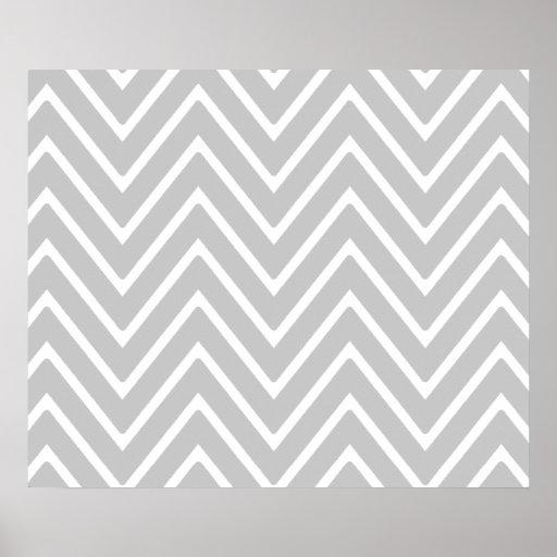 Gray and White Chevron Pattern 2 Print