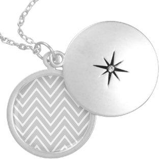 Gray and White Chevron Pattern 2 Round Locket Necklace